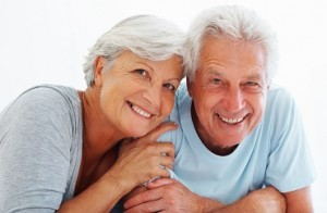 Closeup portrait of senior couple relaxing together and smiling