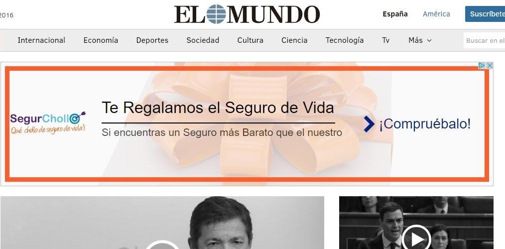 """nuestra campaña """"te regalamos el seguro de vida"""" en EL MUNDO"""